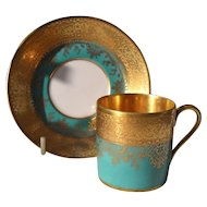 DW Karlsbad Teal Green Gold Encrusted Demitasse Cup/Saucer