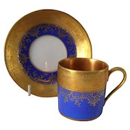 DW Karlsbad Royal Blue Gold Encrusted Demitasse Cup/Saucer