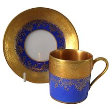 DW Karlsbad Royal Blue Gold Encrusted Demitasse Cup/Saucer