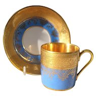 DW Karlsbad French Blue Gold Encrusted Demitasse Cup/Saucer