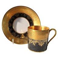 DW Karlsbad Black Gold Encrusted Demitasse Cup/Saucer