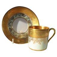 DW Karlsbad Tea Green Gold Encrusted Demitasse Cup/Saucer