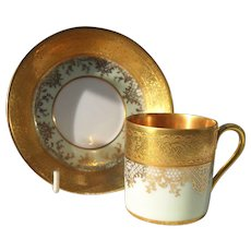 DW Karlsbad Tea Green Gold Encrusted Demitasse Cup/Saucer