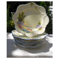 Eight Aynsley Bluebell Time Blue Trim Tea Plate (s) 7""