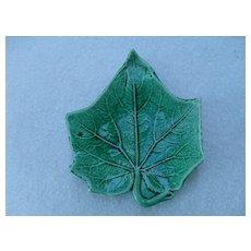Majolica Figural Green Leaf Butter Pat