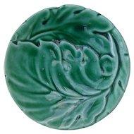 Majolica Figural Green Swirled Leaf Butter Pat