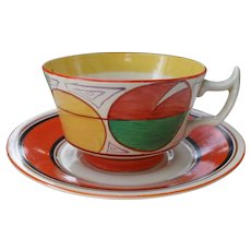 Rare Clarice Cliff Bizarre Fantasque Melon Teacup and Saucer
