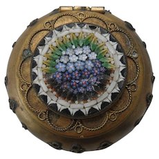 Antique Italian Mosaic Blue Forget Me Not Pill Box