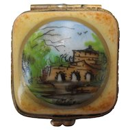 Vintage Limoges French Country Villa Enamel Pill Box Signed