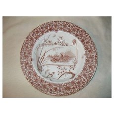 Copeland Aesthetic Rimmed Soup Bowl with Brown Transfer Staffordshire 1850 - 1870