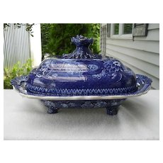 Historic R. Hall's Covered Dish Scenic Blue and White Abbey Wales