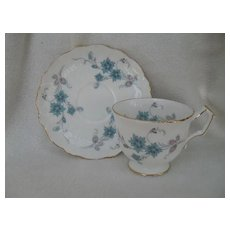 Aynsley Turquoise and Pink Floral Teacup and Saucer