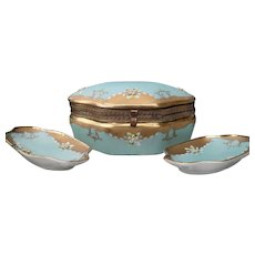 French Blue Porcelain Dresser Box and Pin Dish with Applied Flowers