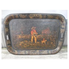 """Large 26"""" Victorian Hand Painted Tole Ware Tray Monkey Dog Musician Toleware"""