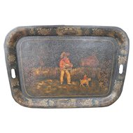 "Large 26"" Victorian Hand Painted Tole Ware Tray Monkey Dog Musician Toleware"