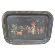 Victorian Hand Painted Tole Ware Tray Girl Cat Dog Bird Toleware