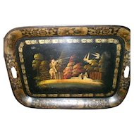 "Large 24"" Victorian Hand Painted Tole Ware Tray Hunter Dogs Birds Toleware"