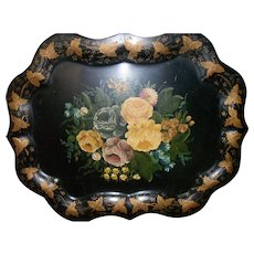 "Large 24"" Victorian Hand Painted Yellow Roses Flowers Tole Ware Tray"
