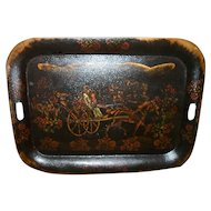 """Large 24"""" Victorian Hand Painted Horse Carriage Family Tole Ware Tray"""