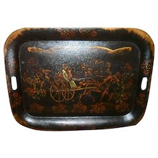 "Large 24"" Victorian Hand Painted Horse Carriage Family Tole Ware Tray"