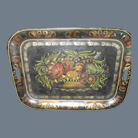 """Large 24"""" Victorian Hand Painted Fall Flower Arrangement Tole Ware Tray"""