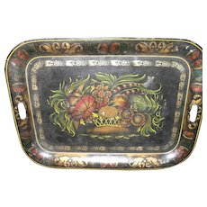 "Large 24"" Victorian Hand Painted Fall Flower Arrangement Tole Ware Tray"
