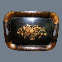 "20"" Vintage Hand Painted Autumn Fruit Urn Arrangement Tole Ware Tray"