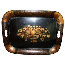"20"" Vintage Hand Painted Autumn Fruit Urn Arrangement Tole Ware Tray"