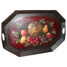 "Large 24"" Vintage Apple Pear Strawberry Fruit Arrangement Tole Ware Tray"