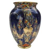 Carlton Ware Cobalt Fantasia Exotic Bird Lustreware Vase