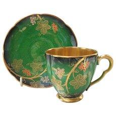 Carlton Ware Vert Royale Vine Gold Gilt Demitasse Cup/Saucer