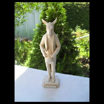 Antique Katzenhaus Hertwig Bisque Political Figure Anthropomorphic Lincoln Donkey