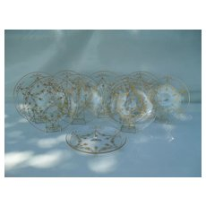 """Set of 8 St. Louis French Bows Crystal Gold Cocktail Plates 7 1/4"""""""
