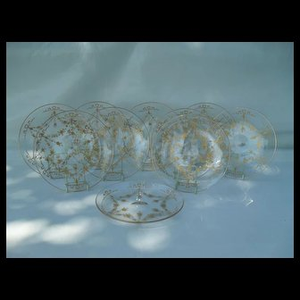 Set of 10 St. Louis French Bows Crystal Gold Cocktail Plates 7 1/4""