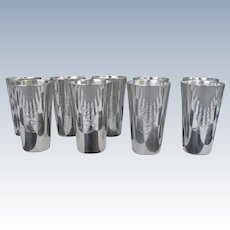 Nine 1895 D. Roussel Paris Sterling Wine Cup or Mint Julep Tumblers