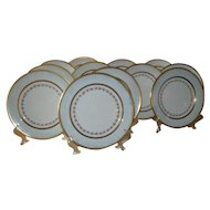 12 Turquoise Enamel Royal Sutherland Pink Rose Gold Dinner Plate