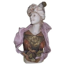 Rare Royal Dux 'Lady with Lyre' Art Nouveau Bust 451