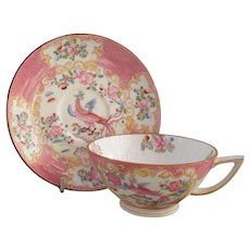 Rare Mintons Pink Cockatrice Bird Teacup and Saucer
