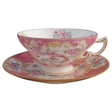 Rare Mintons Pink Cockatrice Bird Teacup and Saucer 9646