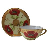 Boseck & Co Austria HP Red Poppy Gold Encrusted Teacup Saucer