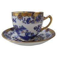 Vintage Royal Stafford Pagoda Flow Blue Gold Teacup/Saucer