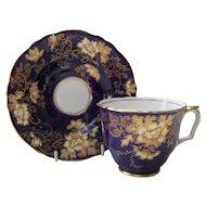 Vintage Crown Staffordshire Teacup & Saucer A14842 Gold Floral Blue