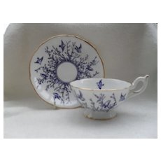 Commanding Coalport Blue and White Bird and Twigs Teacup and Saucer