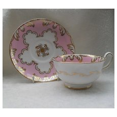 Royal Chelsea Fluffy Pastel Pink Gold Wide Teacup and Saucer
