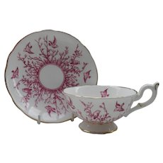 Commanding Coalport Red Bird Branch and Twigs Teacup and Saucer