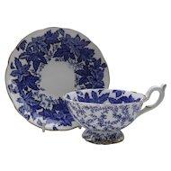 Coalport Cobalt Blue Leaf and Chintz Teacup and Saucer