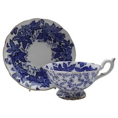 Coalport Cobalt Blue Leaf and Chintz Teacup and Saucer