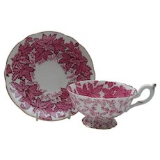 Coalport Deep Pink Leaf and Chintz Teacup and Saucer