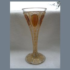 Heavy Moser Amber Gold Panel Wine Glass
