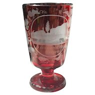 Bohemian Egermann Art Glass Wine Goblet, Salinebei Dillingen Ruby